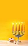 Image of jewish holiday Hanukkah. With menorah (traditional Candelabra