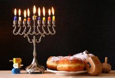 Image of jewish holiday Hanukkah with menorah Royalty Free Stock Photography