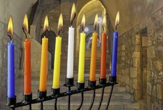 Image of Jewish holiday Hanukkah with menorah traditional candles. Holiday Hanukkah Royalty Free Stock Image