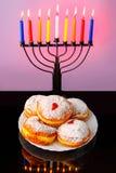 Image of Jewish traditional holiday Hanukkah with menorahtradishinal candels. Royalty Free Stock Photos