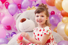Image of joyful little girl posing in playroom Stock Photos