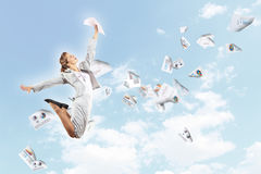 Image of jumping businesswoman Stock Image