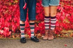 Image of kids legs wearing stripe socks Royalty Free Stock Photography
