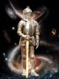 The image of the knight, the planetary defender of the universe. Righteous knight defender of the universe from the evil and chaos Royalty Free Stock Photos