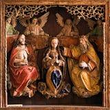 Image - la sculpture sur bois, montrent le thème religieux Photographie stock