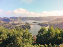 Image of lake of Sete Cidades from Vista do Rei viewpoint in Sao Miguel, Azores. Portugal, Europe stock photo