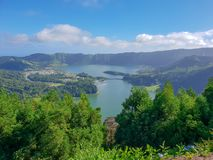 Image of lake of Sete Cidades from Vista do Rei viewpoint in Sao Miguel, Azores. Portugal, Europe stock images