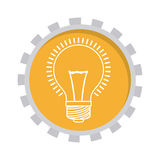 Image with lamp in toothed circle. Vector illustration Stock Images