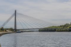 Image of the Lanaye bridge over the Albert canal beside the Maas river stock image
