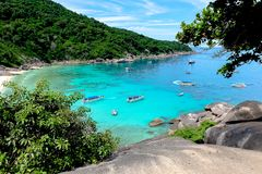 View Seeing the sea and tourists Similan Islands Thailand. Image is landscape.Mountain View Seeing the sea and tourists are playing the water. In the Similan royalty free stock photos