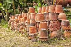 Group of clay pottery Stock Photo
