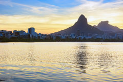 Image of the late afternoon at Lagoa Rodrigo de Freitas. In Rio de Janeiro with its mountains, buildings and characteristic outline stock photos