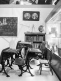 Black and White Old School at McHenry Museum. An image of learning in the past captured at McHenry Museum in Modesto California stock photos
