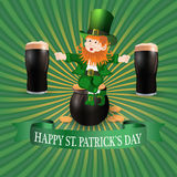 Image leprechaun and two glasses of dark beer. Greeting inscription Happy Patrick s Day. illustration. Image leprechaun and two glasses of dark beer. Greeting Stock Photos
