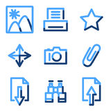 Image library icons. Vector web icons, blue contour series