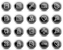 Image library web icons, black circle buttons Royalty Free Stock Images