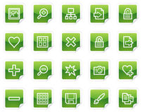 Image library web icons, green sticker series. Vector web icons, green sticker series stock illustration