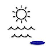 Image linéaire simple du soleil et des vagues sur la mer, une ligne plate icône pour une agence de voyages Photos stock