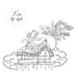 Wooden house on the pier under palm trees in the style of a sketch Royalty Free Stock Photos