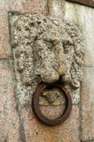 The image of a lion on the quay. Royalty Free Stock Images
