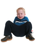 Image of a little boy sitting on white Stock Photo