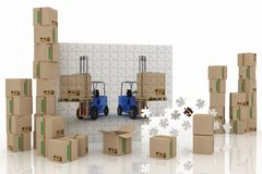 Image of loaders on plane from puzzle with boxes Stock Photos