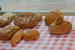 Loaves of bread on a checkered tablecloth. Image of loaves of bread on a checkered tablecloth royalty free stock images