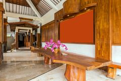 Beautiful lobby area at cheap villa in bali royalty free stock images