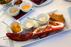 Image of lobsters ,fresh roasted on a grill,with s Royalty Free Stock Photo