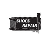 image of logo of shoe repair services. Concept for workshop repair. Image of logo of shoe repair services. Trendy concept for workshop repair or restoration of Royalty Free Stock Photo