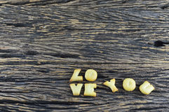 Image of Love You made from cookie on wooden board Royalty Free Stock Image