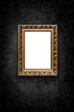 Image of luxury artframe on dark wall Stock Photography