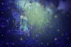 image of magical little fairy in the night forest. Royalty Free Stock Photo