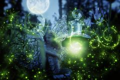 image of magical little fairy sitting in the night forest. Stock Image