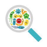 Image of magnifier and cute funny bacterias, germs Stock Images