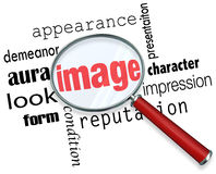 Image Magnifying Glass Appearance Impression Demeanor Words. Image words under a magnifying glass to illustrate appearance, impression and demeanor vector illustration