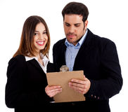 Image of male and female discussing Royalty Free Stock Image