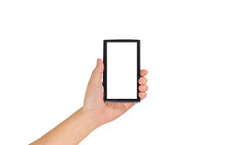 Image of  male hand is holding a modern touch screen smart phone Stock Image