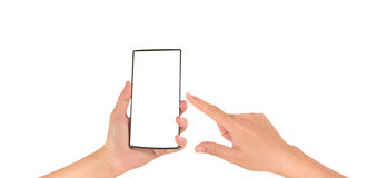 image of  male hand is holding a modern touch screen smart phone Stock Images
