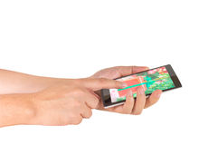 image of male hand is holding a modern touch screen smart phone Stock Photography