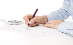 Image of male hand pointing at business document Royalty Free Stock Photos