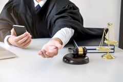 Image of Male lawyer or judge importune bribes client, working w Royalty Free Stock Photos