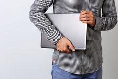 Image of a man holding laptop Royalty Free Stock Photo