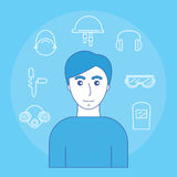 Image of man and icons of personal protective equipment sight, hearing, smell and head. Vector illustration royalty free illustration