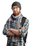 Image of man with red beard in glasses posing isolated on white royalty free stock photos