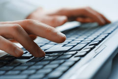 Image of man's hands typing Royalty Free Stock Photos