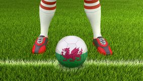 Man and soccer ball with Welsh flag. Image of Man and soccer ball with Welsh flag Stock Photography