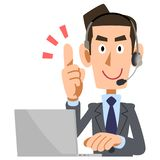 A man wearing a headset to explain stock illustration