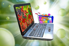 Image of many of berries on a laptop screen, stylized vitamins in the food trolley Stock Photography