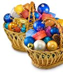 Image of many Christmas decorations in basket Stock Photos